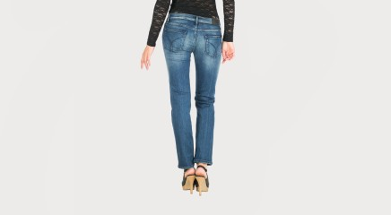 Calvin Klein Džinsi Mid Rise Straight SSBLST
