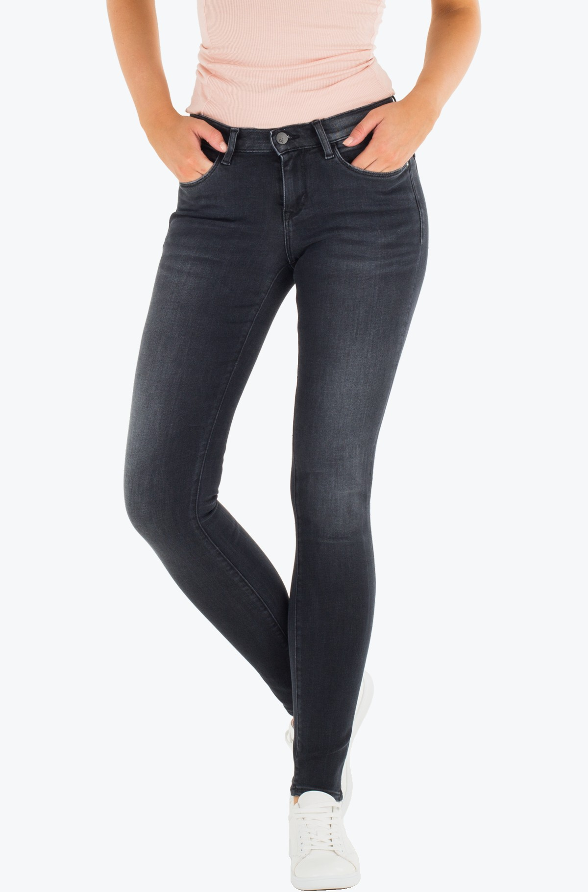 Teksapüksid Mid Rise Skinny - Pitch Black-full-1