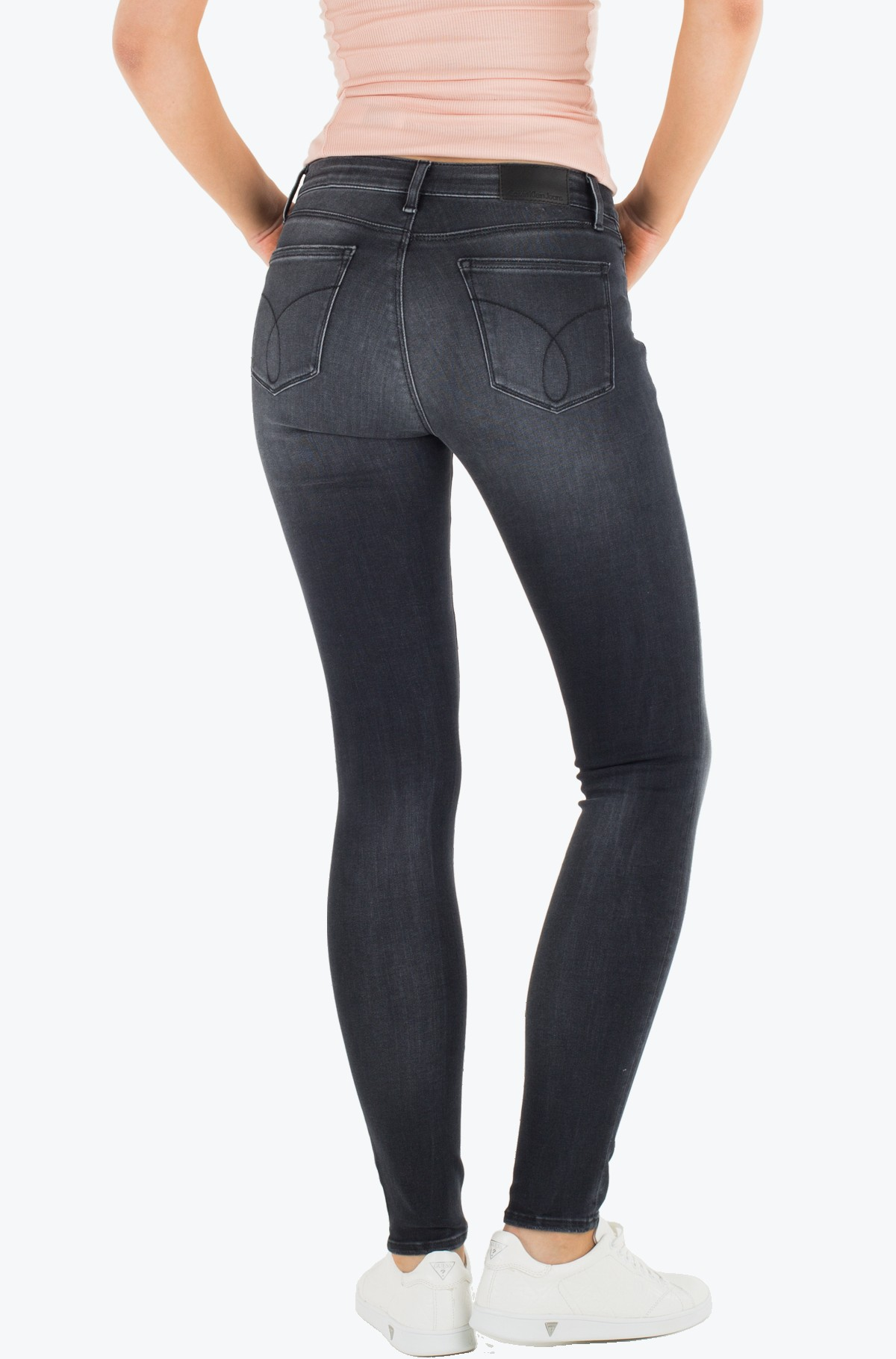Teksapüksid Mid Rise Skinny - Pitch Black-full-2
