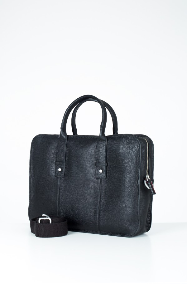 TAILORED LEATHER COMPUTER BAG-hover