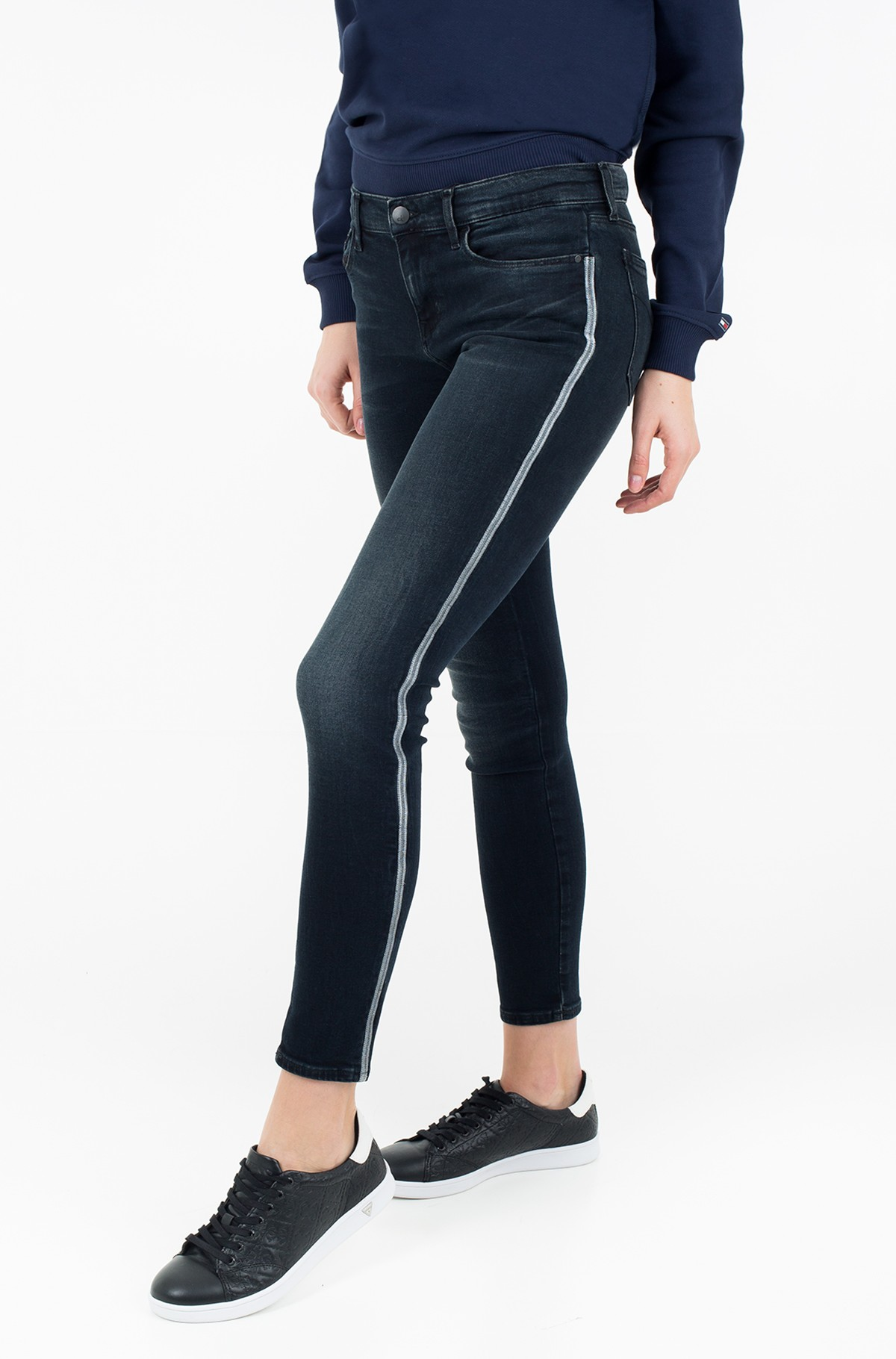 Džinsinės kelnės Mid Rise Skinny Ankle - Blackwater Embro-full-1