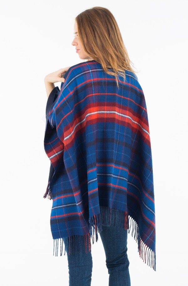 DOUBLE SIDED CHECK PONCHO-hover