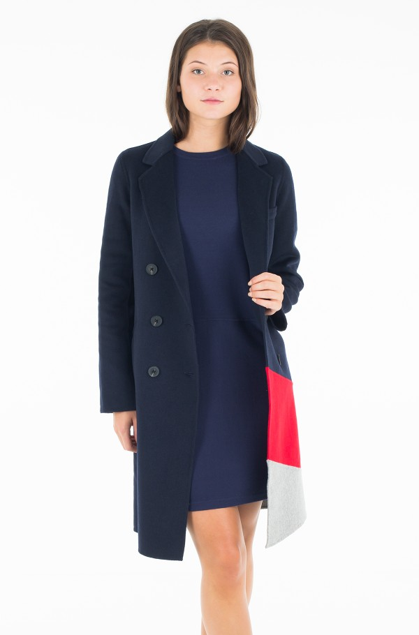 CARMEN DF CLR BLOCK WOOL COAT