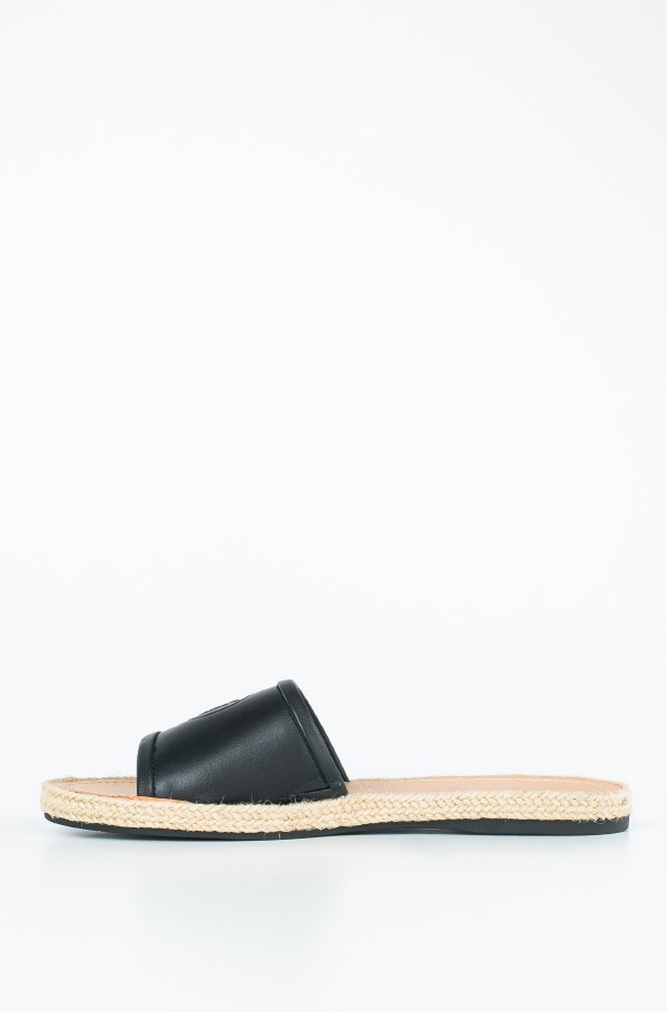 LEATHER FLAT MULE-hover