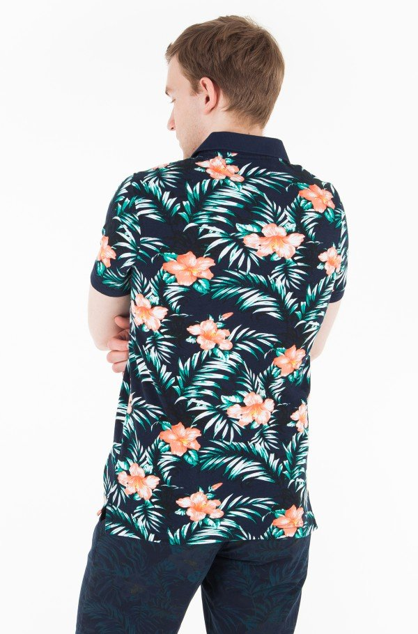 HIBISCUS PRINT SLIM POLO-hover