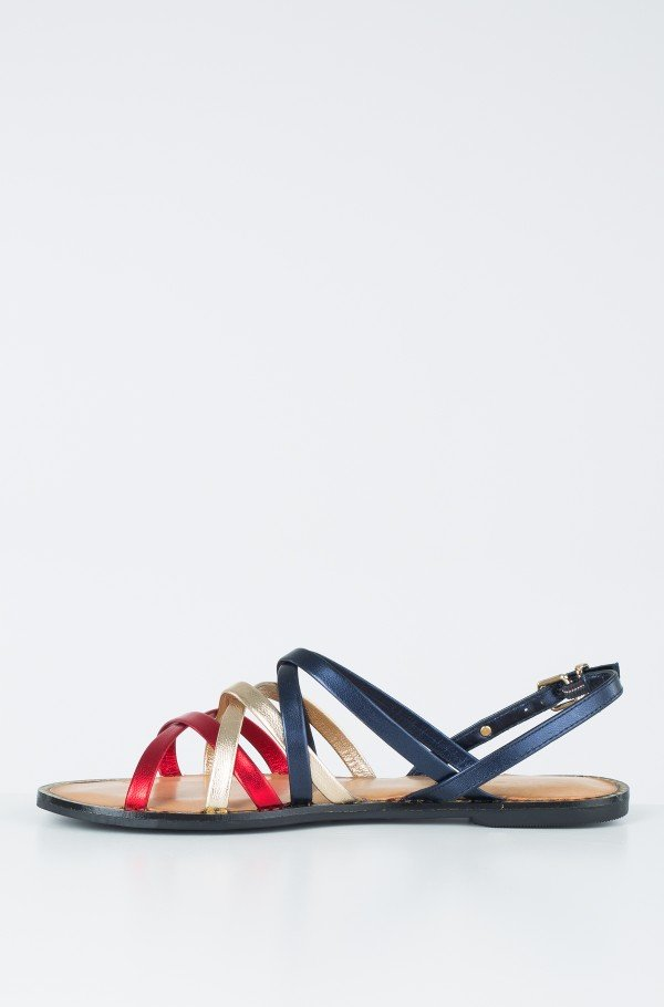 METALLIC STRAPPY FLAT SANDAL-hover