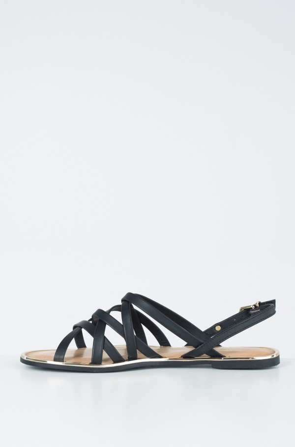 LEATHER STRAPPY FLAT SANDAL-hover