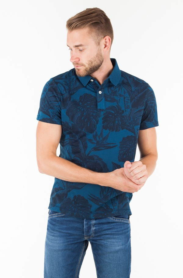 PRINTED GARMENT DYE SLIM POLO