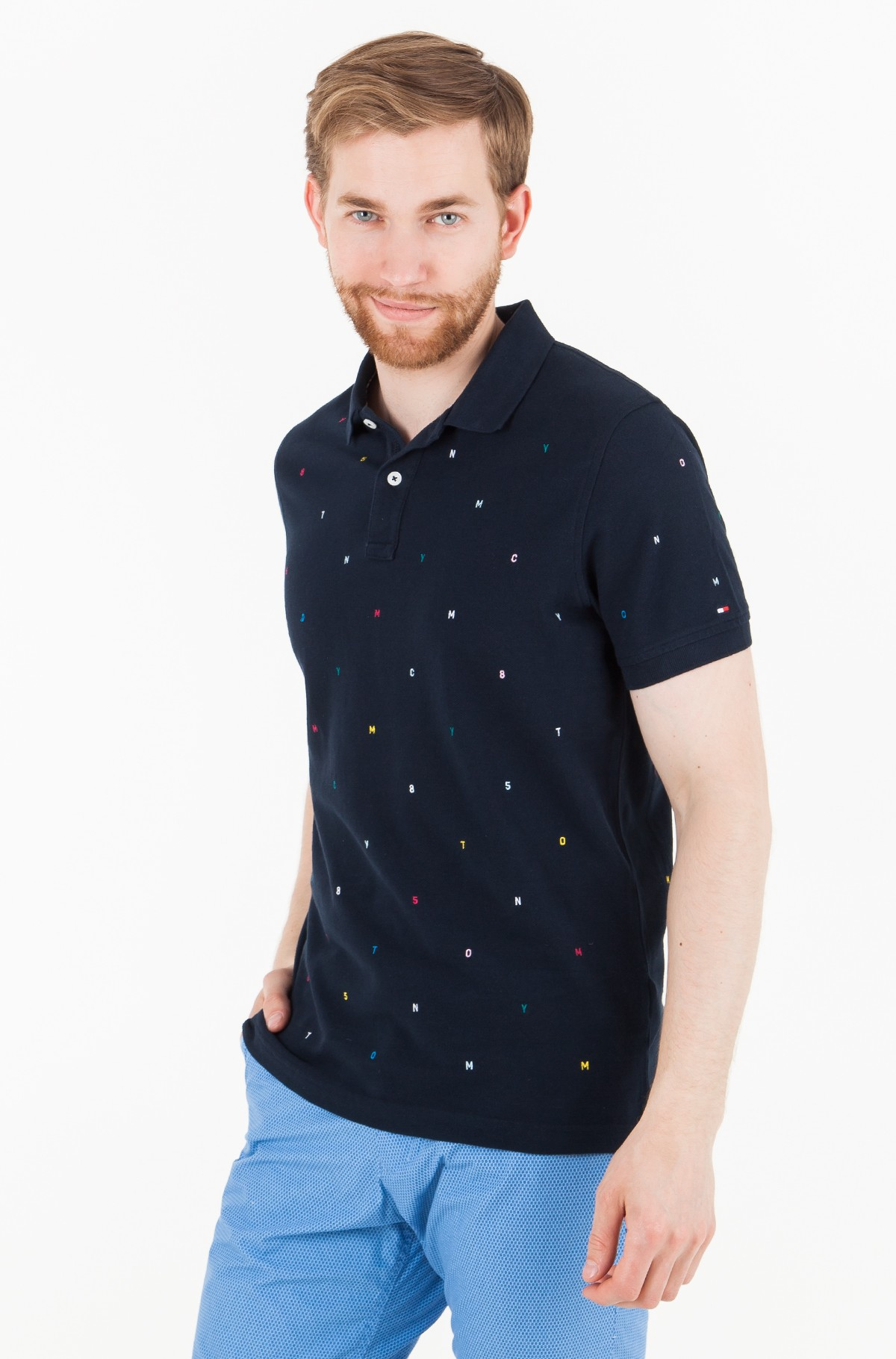 Polo LETTER EMBROIDERED SLIM POLO-full-1