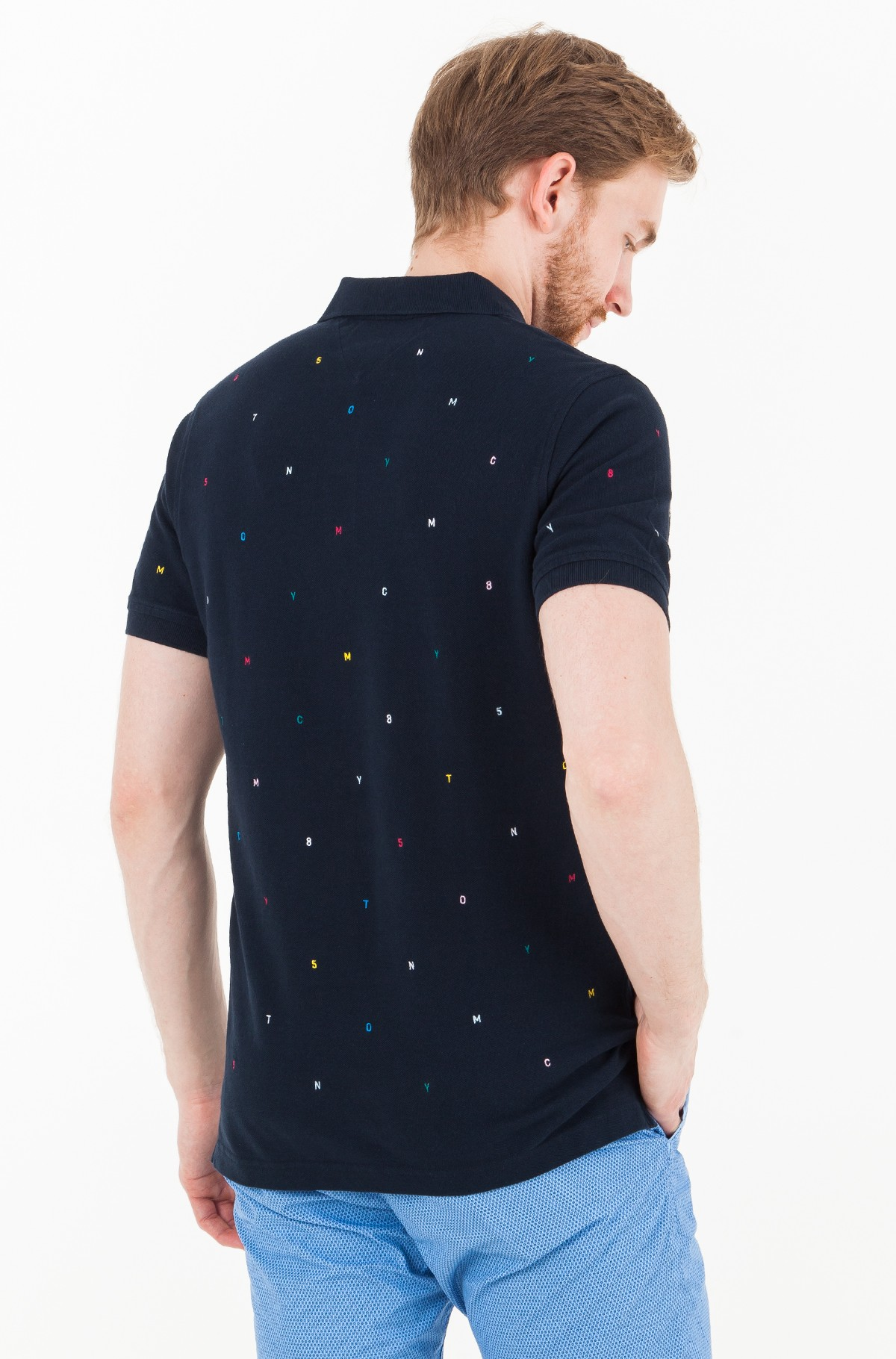 Polo LETTER EMBROIDERED SLIM POLO-full-2