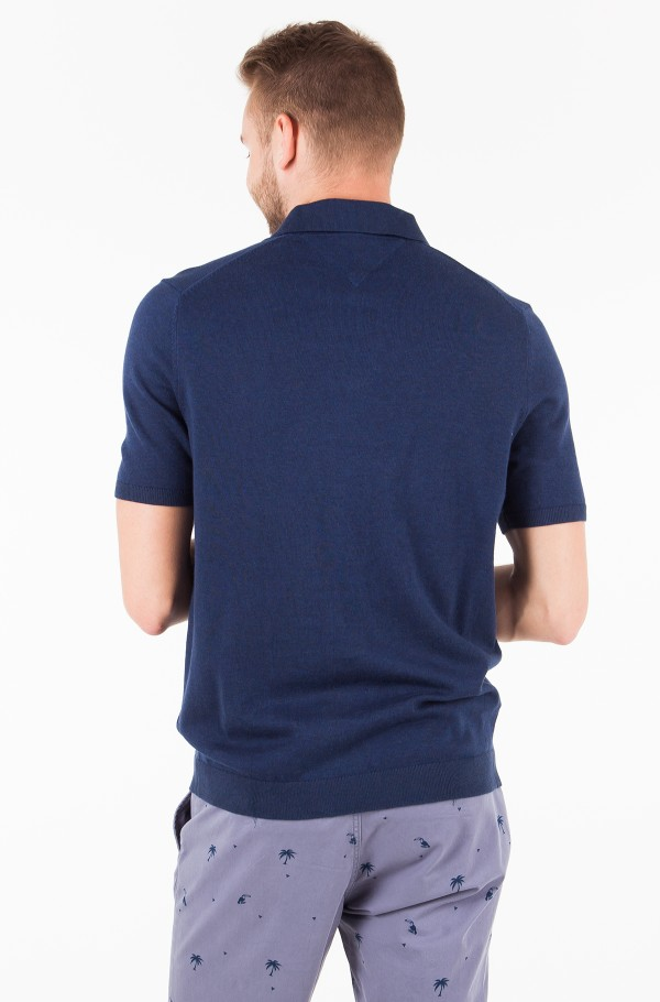COTTON SILK KNITTED POLO-hover
