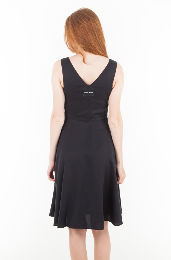 TENCEL SLEEVELESS FIT AND FLARE DRESS-hover
