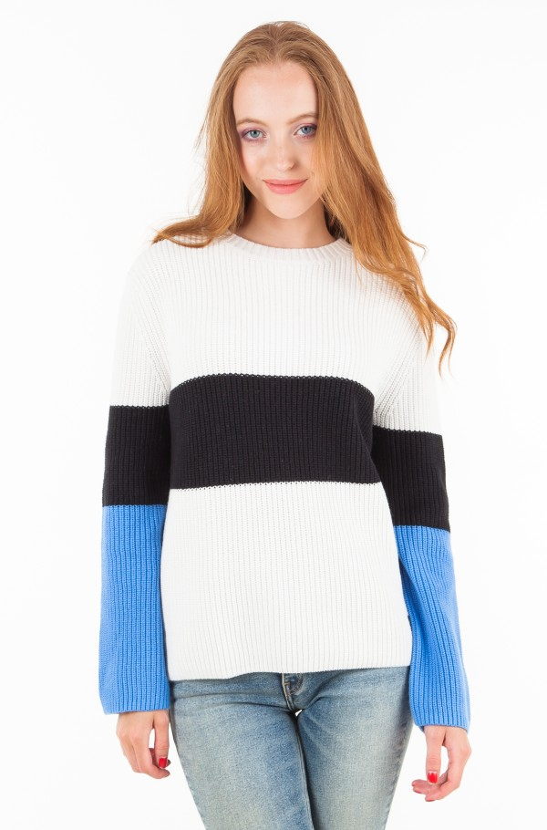 COLOR BLOCK COTTON CASHMERE SWEATER
