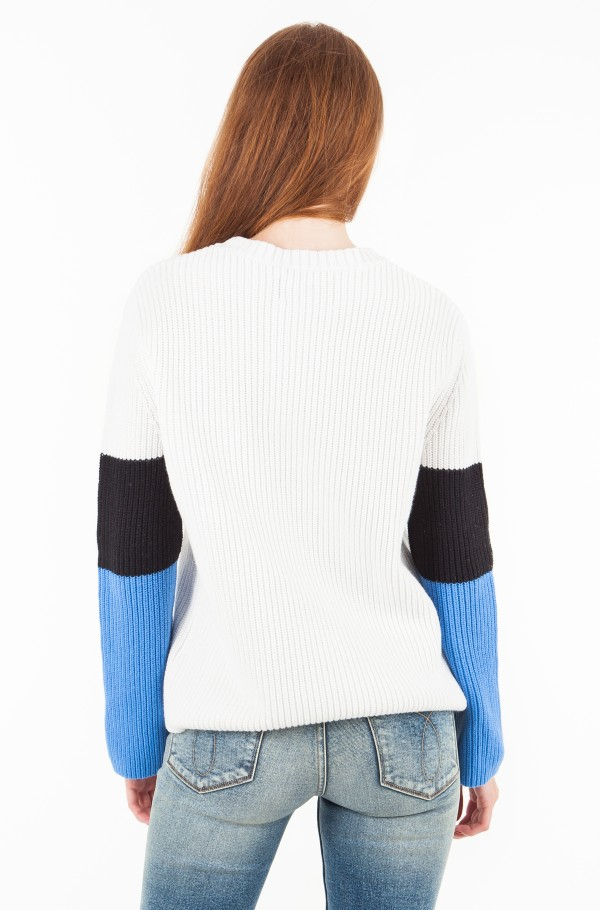 COLOR BLOCK COTTON CASHMERE SWEATER-hover