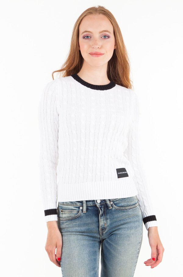 CONTRAST NECK CABLE COTTON SWEATER