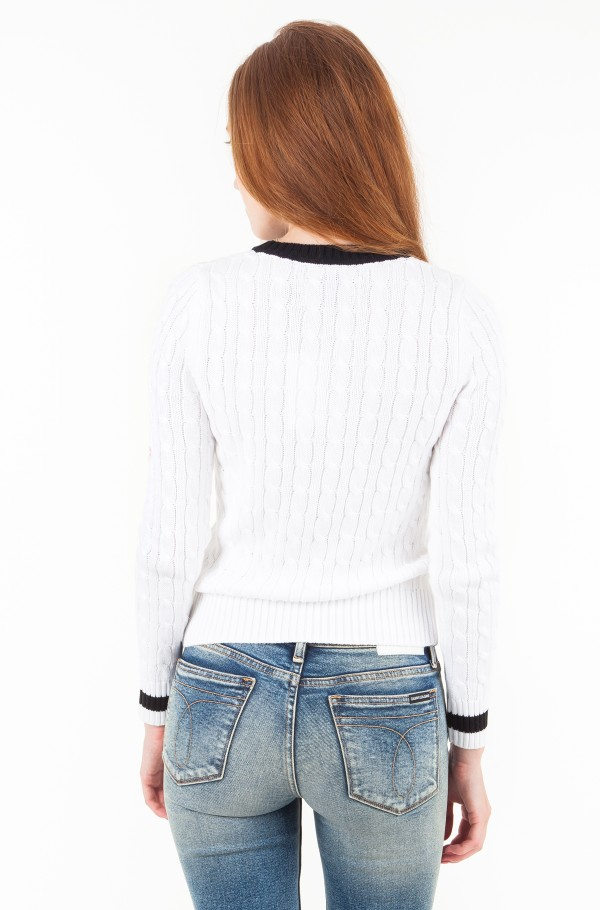 CONTRAST NECK CABLE COTTON SWEATER-hover