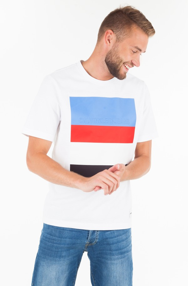 SATEEN MULTI STRIPE LOGO TEE