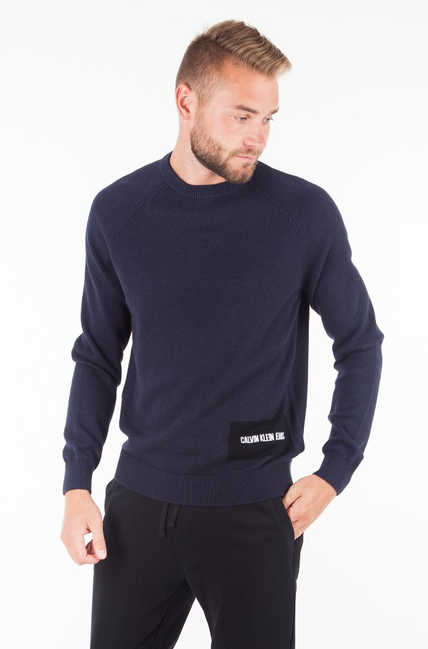WOOL BLEND INSTITUTIONAL LOGO SWEATER