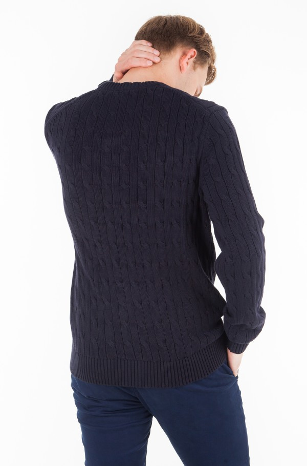 CABLE KNIT COTTON SWEATER-hover