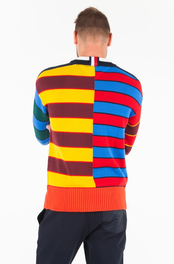 ABSTRACT BLOCK STRIPE OVERSIZED SWEATER-hover