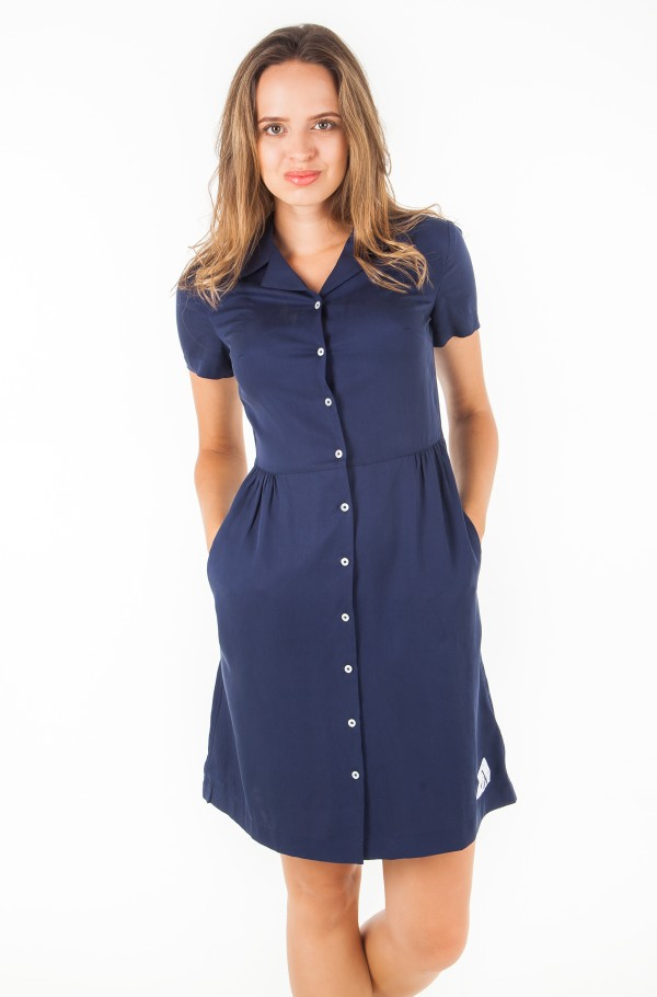 DRAPEY TENCEL SHORT SLEEVE TEA DRESS