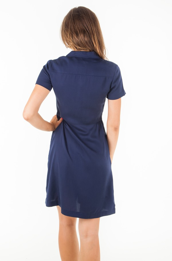 DRAPEY TENCEL SHORT SLEEVE TEA DRESS-hover