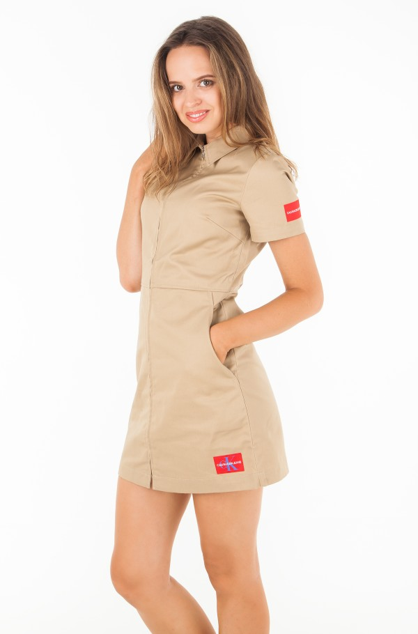 COTTON SHORT SLEEVE ZIP UP DRESS