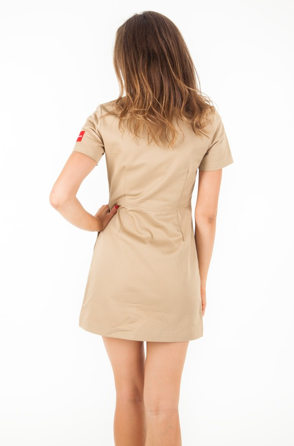 COTTON SHORT SLEEVE ZIP UP DRESS-hover