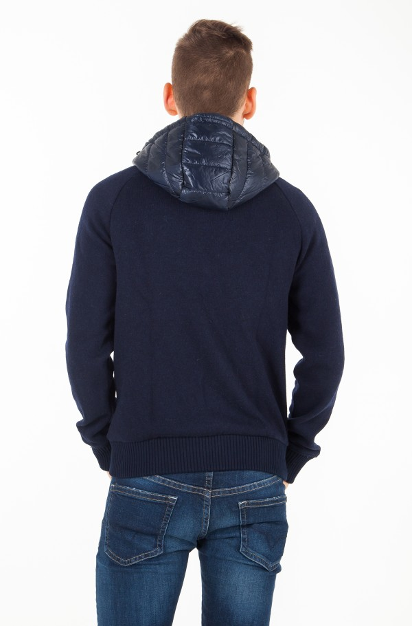 MIXED MEDIA WOOL ZIP HOODIE-hover