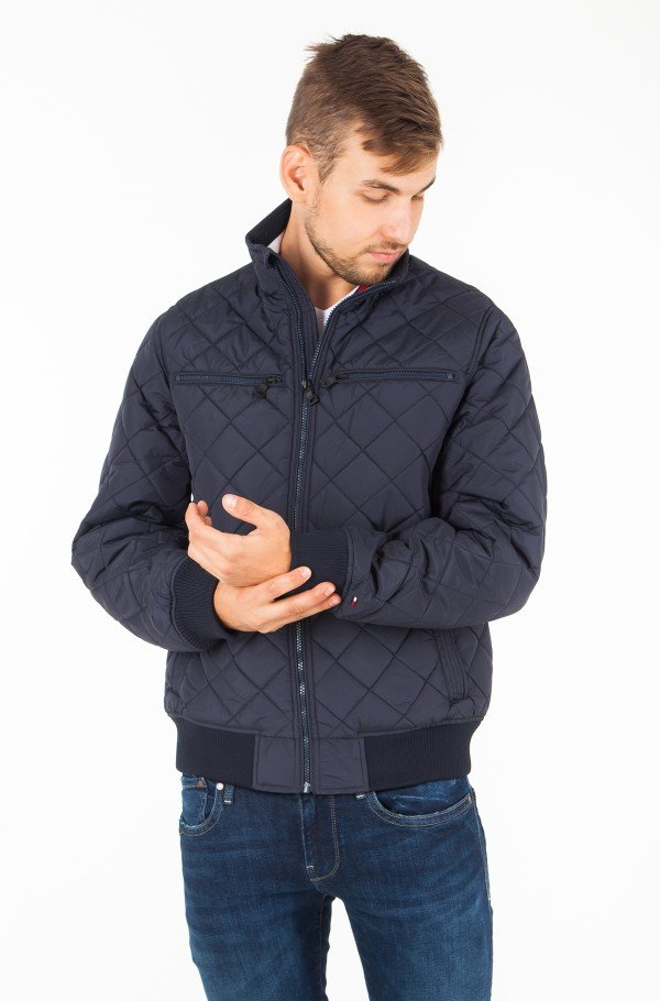 STRIPED RIB QUILTED BOMBER