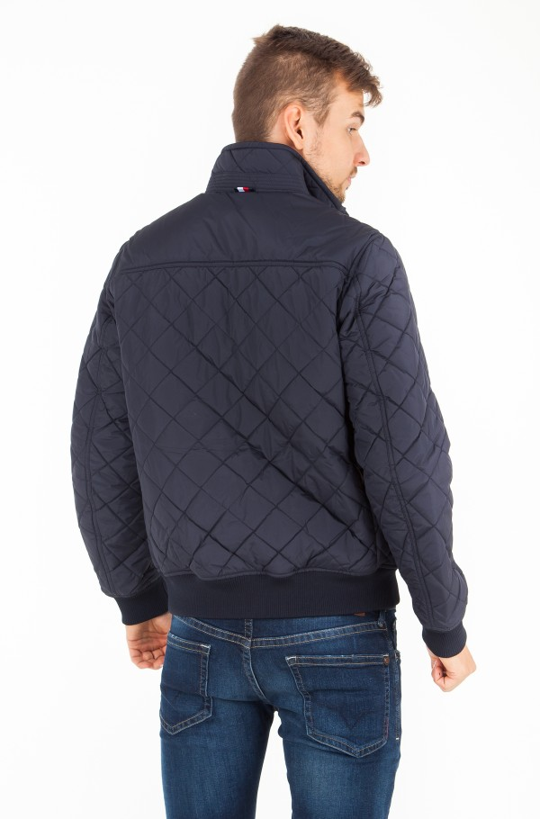 STRIPED RIB QUILTED BOMBER-hover