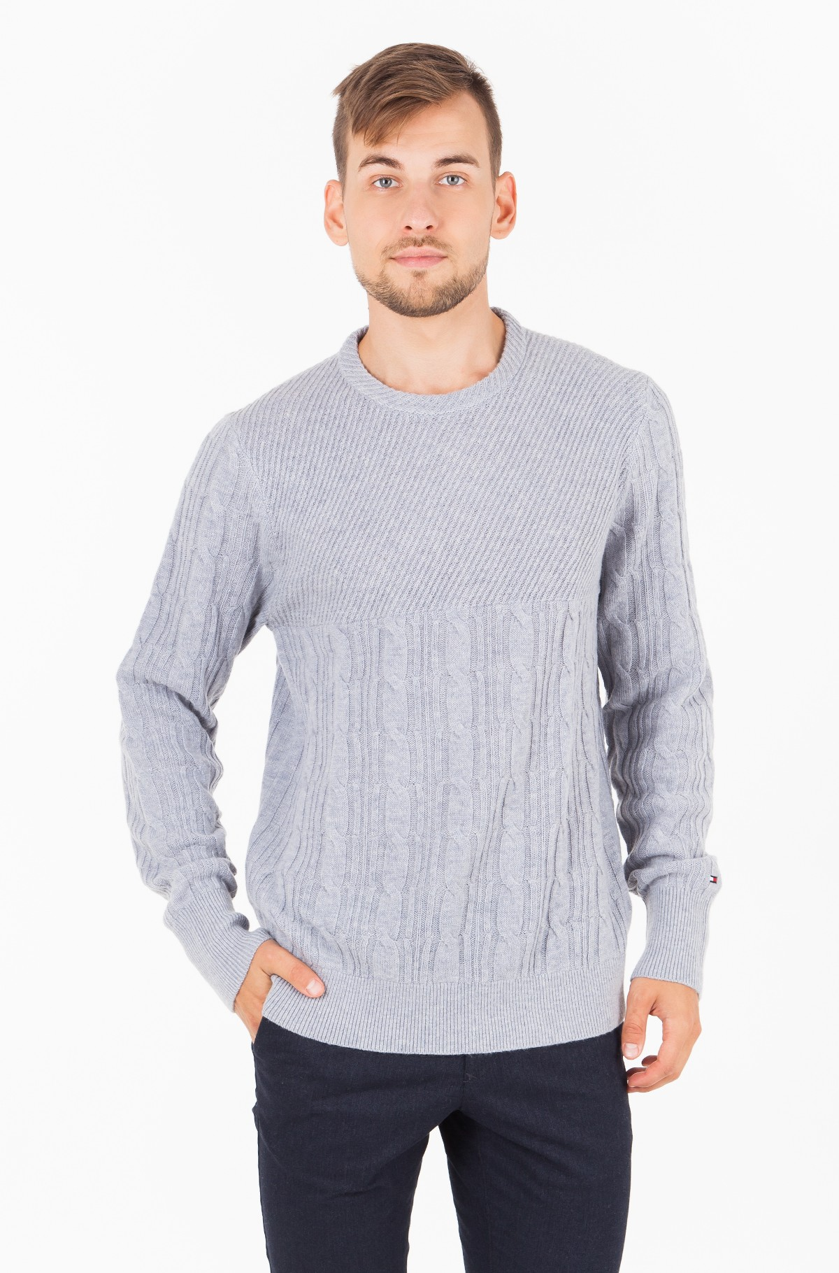 Sviiter MIXED CABLE CNECK SWEATER-full-1