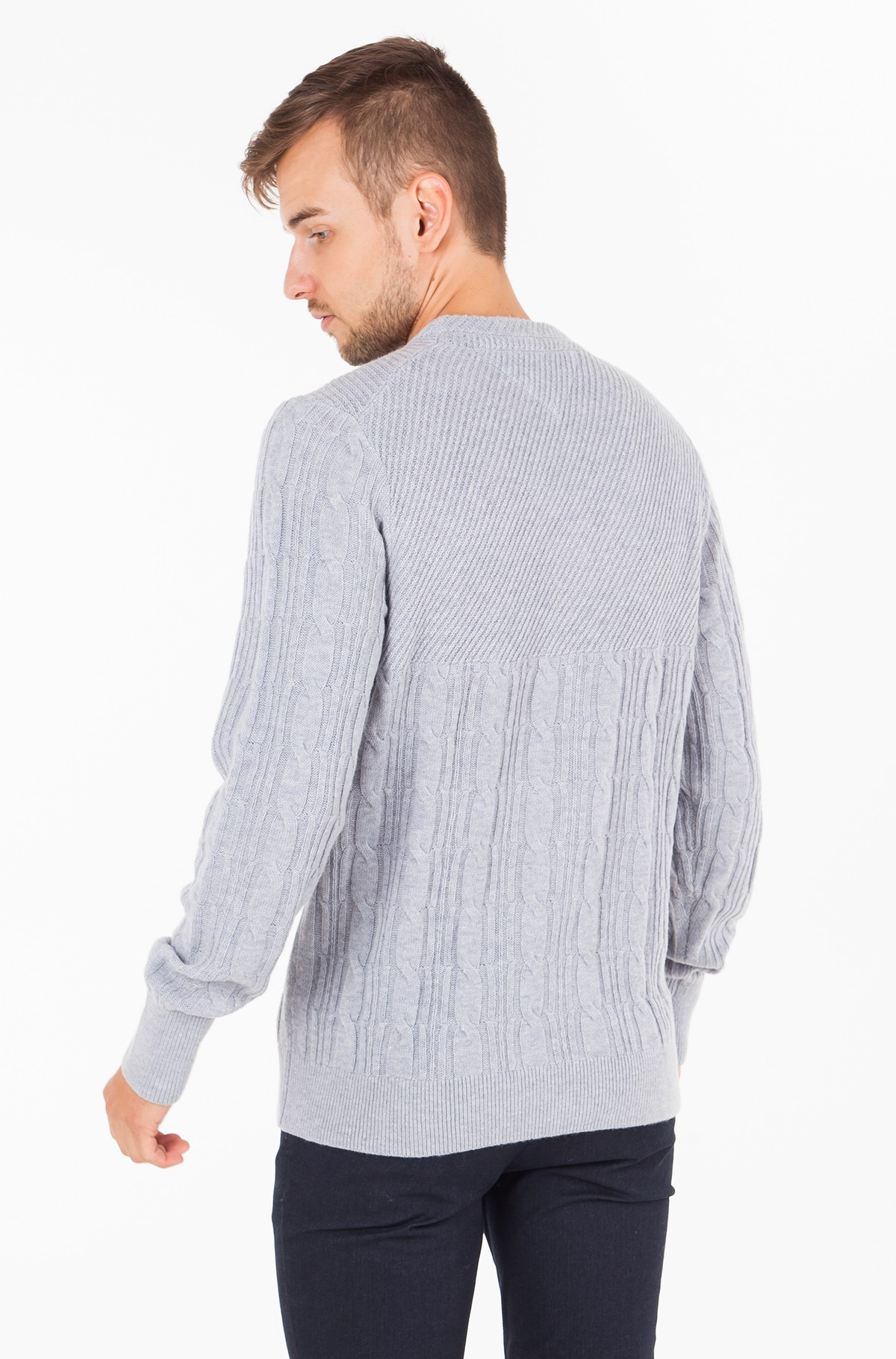 Sviiter MIXED CABLE CNECK SWEATER-full-2