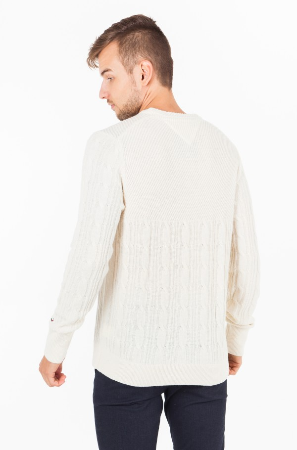 MIXED CABLE CNECK SWEATER-hover