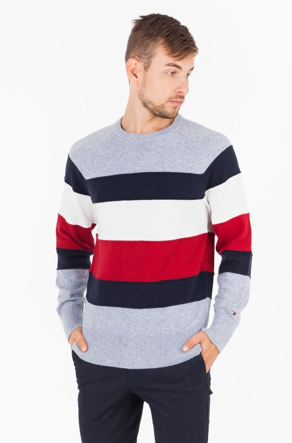 COLORBLOCK STRIPE CNECK SWEATER