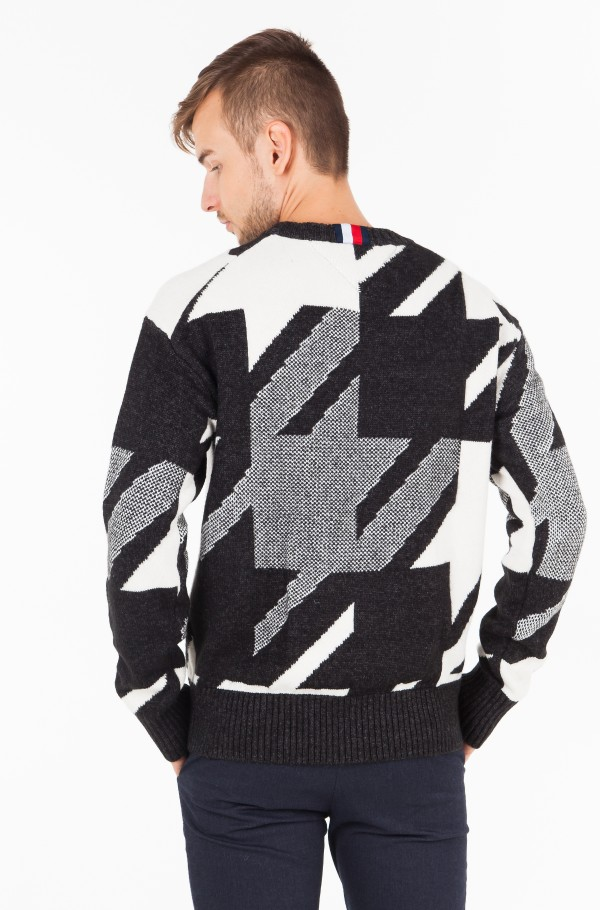 HOUNDSTOOTH OVERSIZED SWEATER-hover