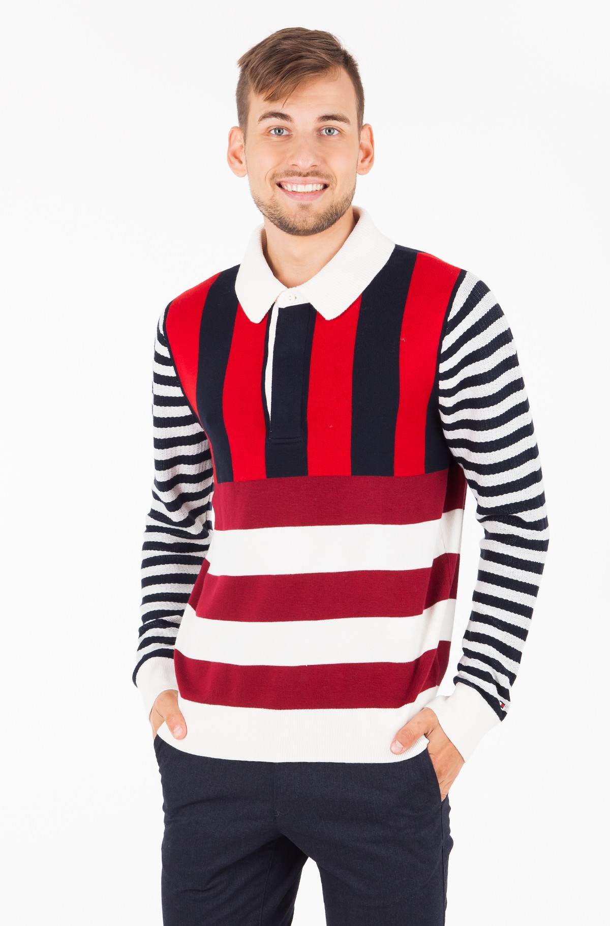 Sweater STRIPE KNITTED RELAXED FIT POLO-full-1