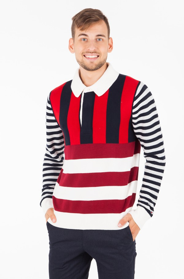 STRIPE KNITTED RELAXED FIT POLO