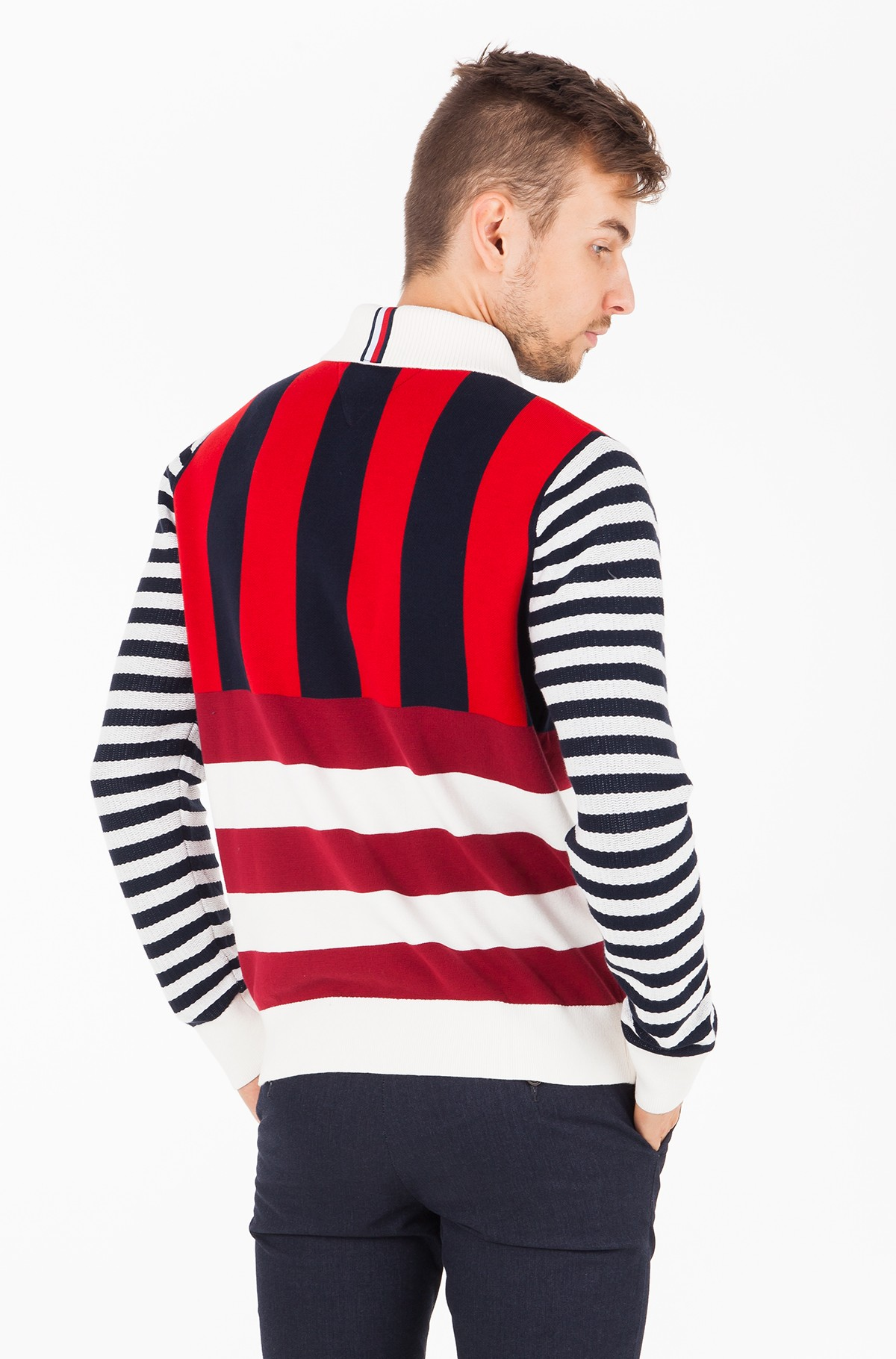 Sweater STRIPE KNITTED RELAXED FIT POLO-full-2