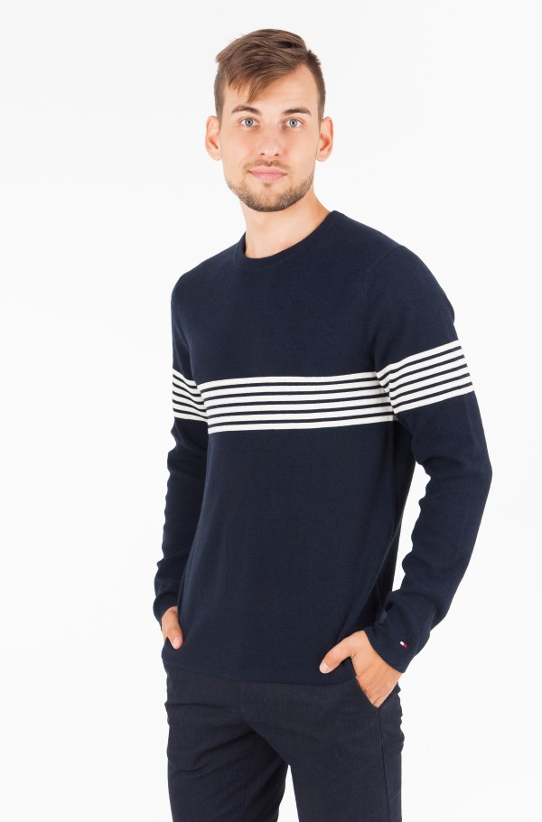 CHEST STRIPE CNECK SWEATER