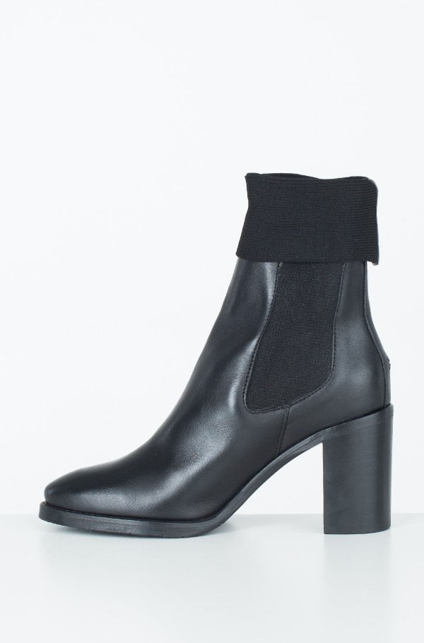 KNITTED SOCK HEELED BOOT LEATHER-hover