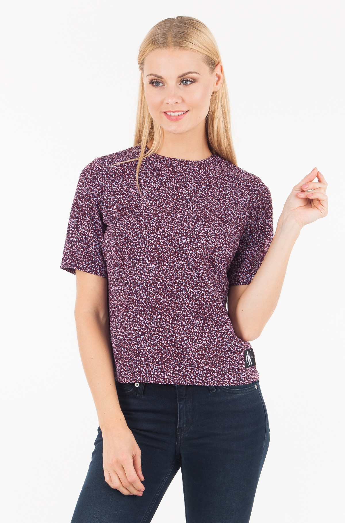 Blūze FLOWER PRINT MID SLEEVE TOP-full-1
