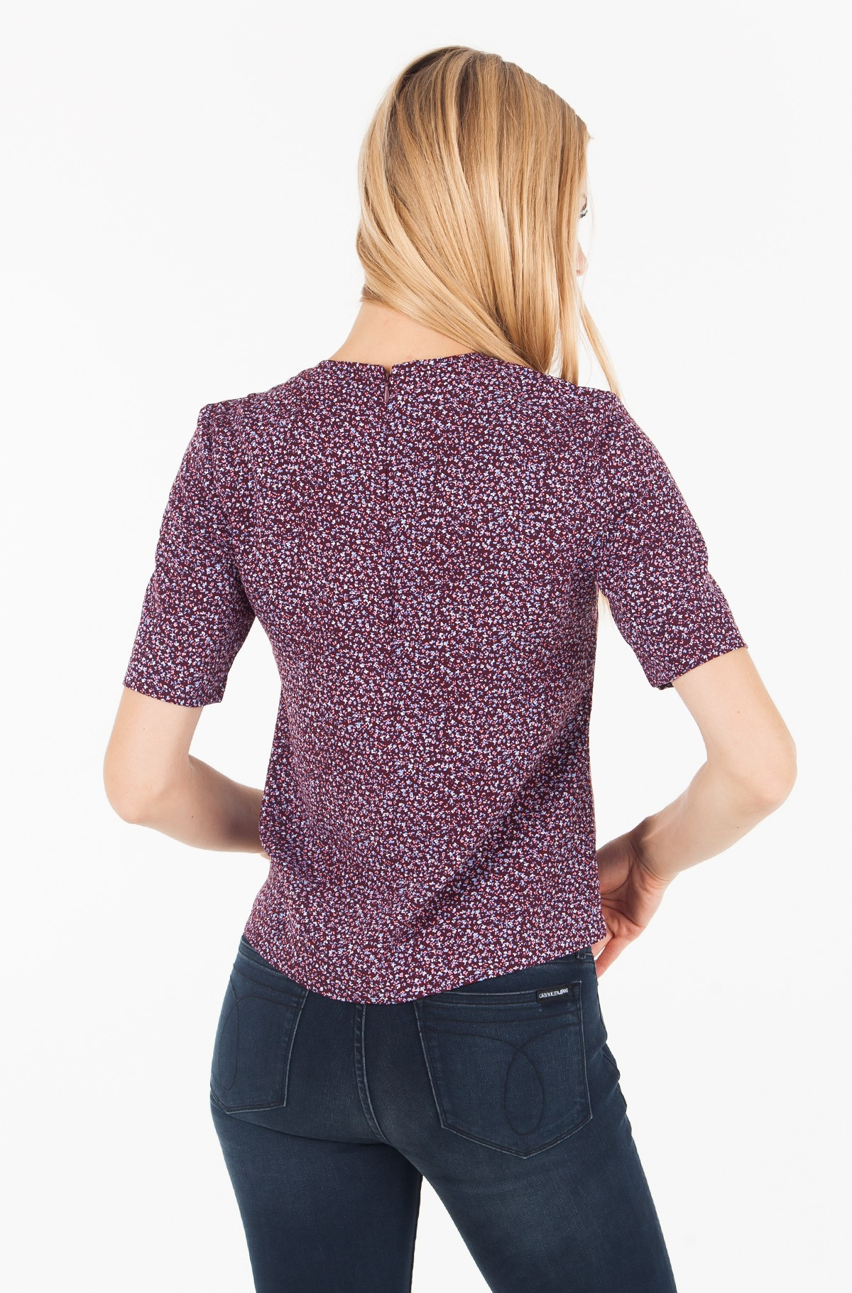 Blūze FLOWER PRINT MID SLEEVE TOP-full-2