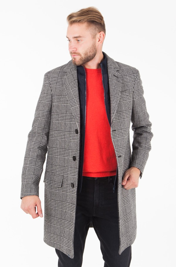 WOOL CHECK SINGLE BREASTED COAT WITH BIB