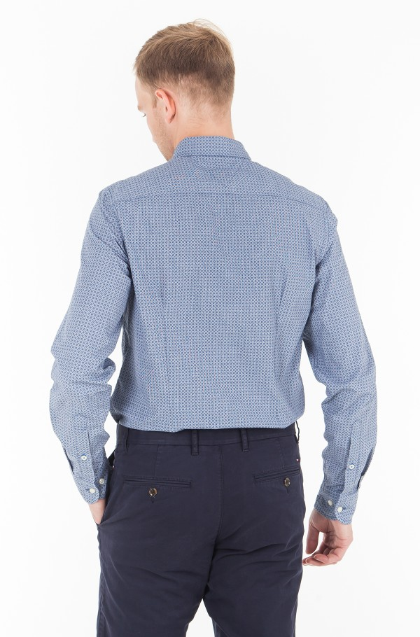 SLIM PRINTED HOUNDSTOOTH SHIRT-hover