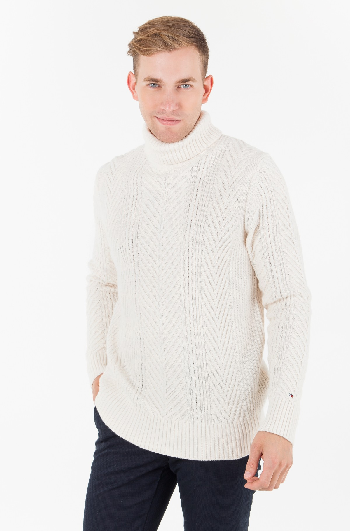 Pulovers  WOOL MIX CABLE ROLL NECK-full-1