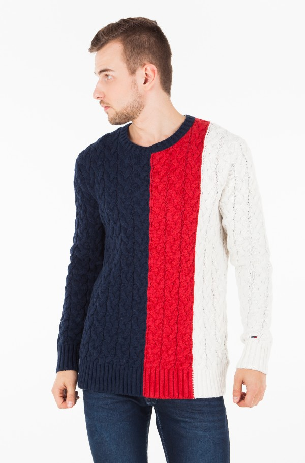 TJM COLORBLOCK CABLE SWEATER