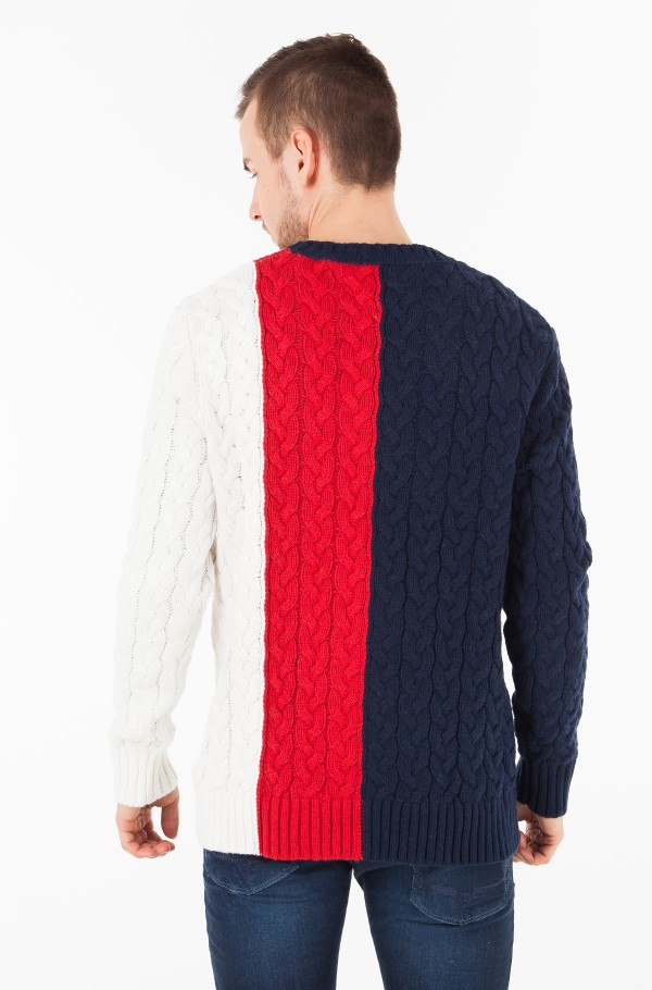 TJM COLORBLOCK CABLE SWEATER-hover