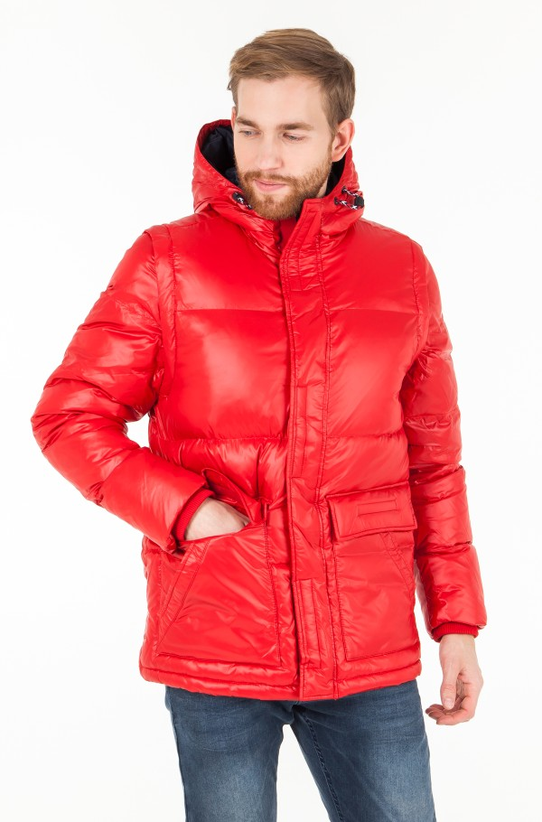 SHINY HOODED DOWN BOMBER