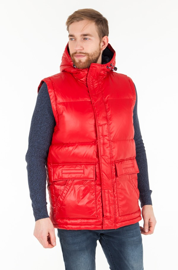 SHINY HOODED DOWN BOMBER-hover